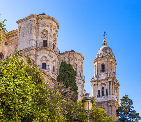 Facade and bell tower of the Cathedral of the Incarnation in Malaga, Spain