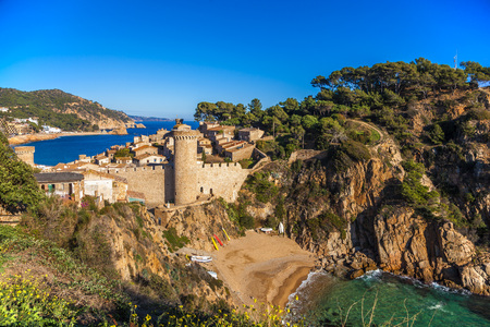 Ancient town of Tossa de Mar on the Costa Brava coast in Spain.