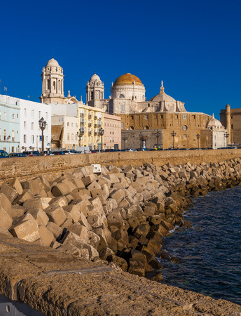 CADIZ, SPAIN - NOVEMBER 15: View of the city of Cadiz on November 12, 2017. Cadiz is bordered by the sea and its Cathedral