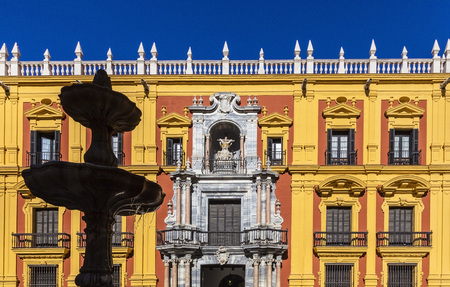 Facade of the Episcopal Palace in Malaga, Spain