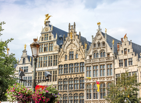 Traditional flemish architecture in Belgium - Grote Markt square Antwerpen city Stock Photo