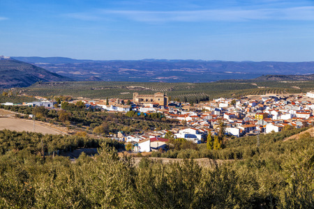 Villanueva del Arzobispo in the province of Jaen, Andalusia, surrounded by olive groves. Stock Photo