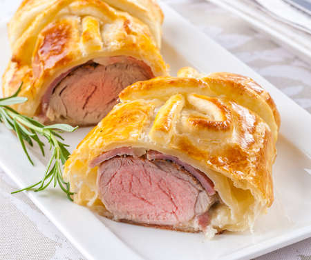 Beef prepared in puff pastry