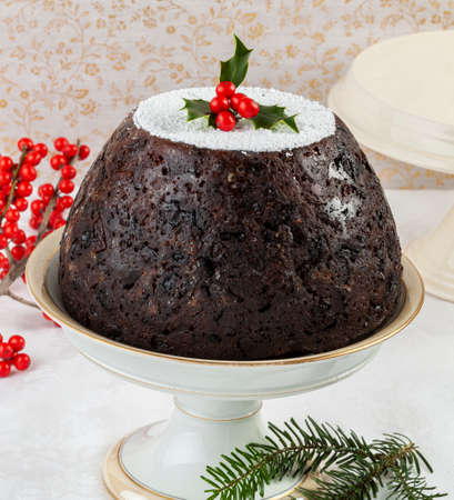 English Christmas figgy pudding with spices, figs, and oranges.