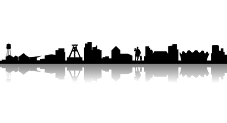 silhouette of the city of Bochum in Germany 写真素材