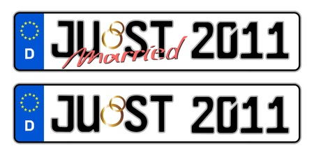 plaque immatriculation: just married 2011 plaques d'immatriculation Banque d'images