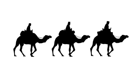 camello: Santos Reyes en camellos  Foto de archivo