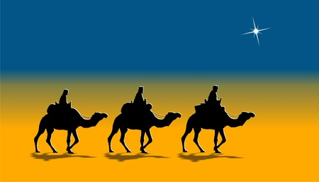 three animals: holy kings on camels