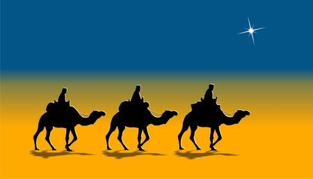 three animals: re Santi su cammelli