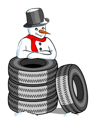 tire fitting: snowman with snow tires