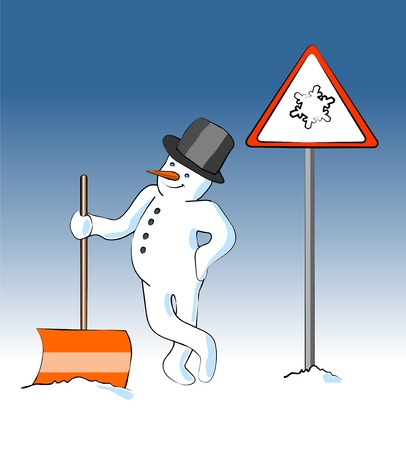 snow road: snowman with snow shovels in front of an traffic  sign