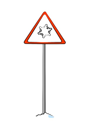 warning sign for ice and snow