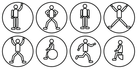 black and white icons set with people photo