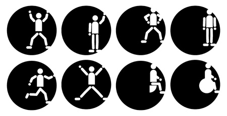 black and white icons set with people