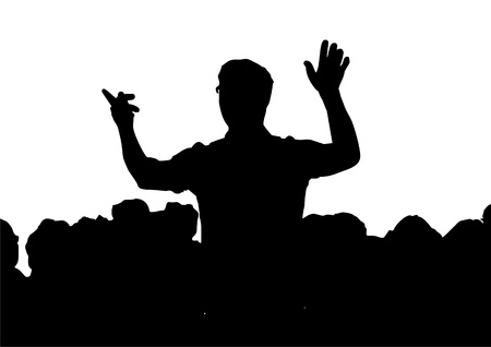 a Choir with conductor, silhouette Stock Photo