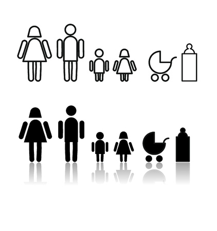toilet symbol: symbol set with family signs