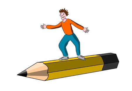 Child surfs flies on a crayon, pencil  Stock Photo - 11843615