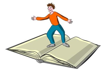 stress testing: Child surfs on a book, magazine