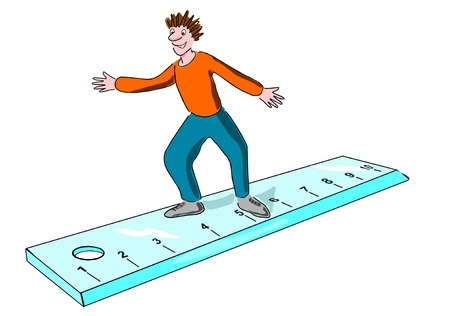 Child stands on a ruler photo