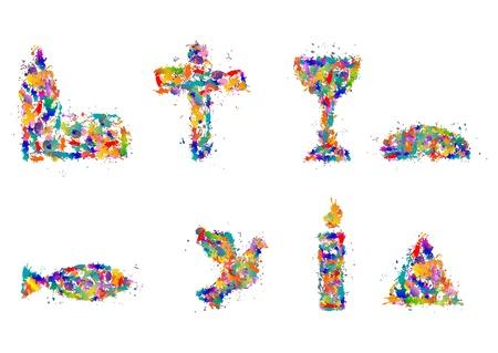 Christian symbols from splashes of color, dab - Symbol Set