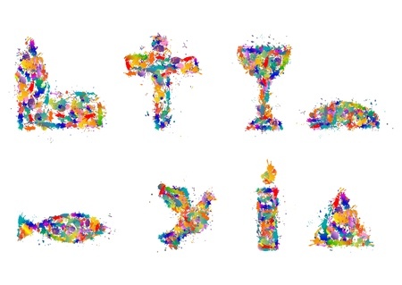 battesimo: Simboli cristiani da schizzi di colore, DAB - Set di simboli