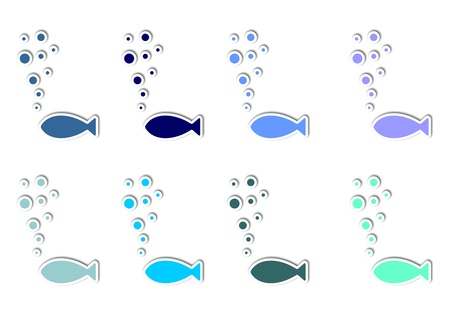 Stylized blue and green fishes with bubbles ,outline Stock Photo - 12088483