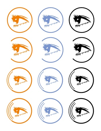 an eye icon: Eye icon in three variants, ophthalmologist, optician  Stock Photo
