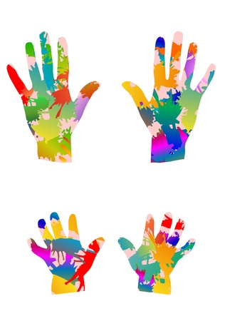 colored children hands and adults hands Stock Photo - 12875782