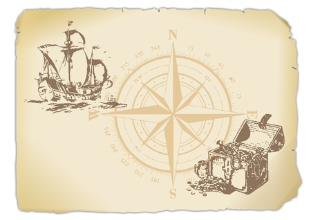 seafaring: yellowed paper with compass, treasure chest and sailing ship  Stock Photo