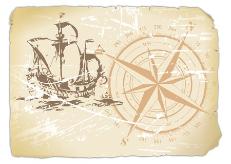 ship with gift: yellowed paper with compass and sailing ship  Stock Photo