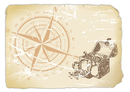 seafaring: yellowed paper with compass and treasure chest  Stock Photo