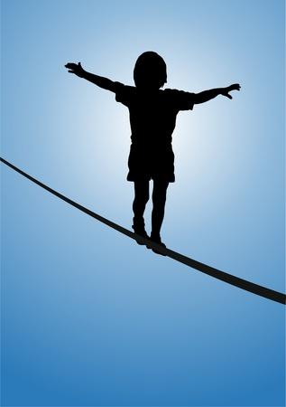 Child balancing on a rope, silhouette
