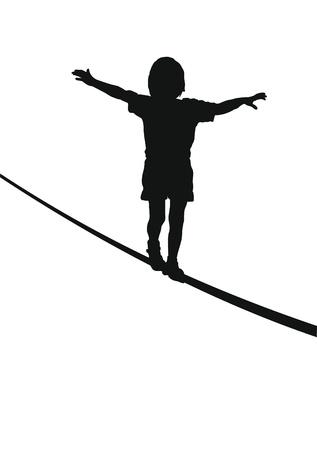 acrobacia: Ni�o mantener el equilibrio sobre una cuerda, la silueta