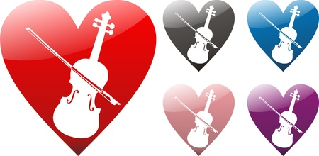 Heart with violin in five variations  photo