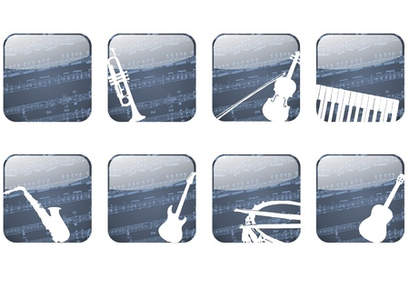 Button app with musical instruments and sheet music