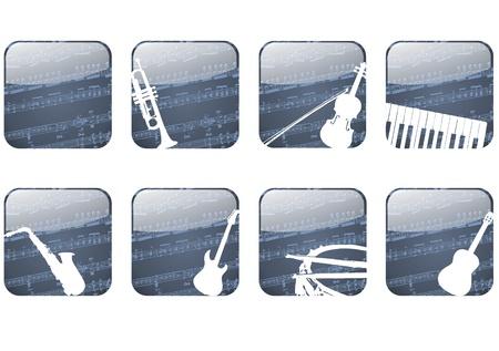 instrumentos musicales: Bot�n de aplicaci�n de los instrumentos musicales y partituras Foto de archivo