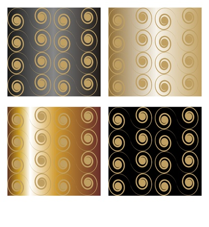 continuously: Seamless Damask pattern, swirl, snail gold