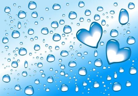 Water drops in heart shape