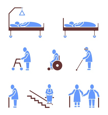 care at home: Seniors Icon Sign Symbol Pictogram