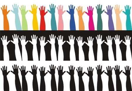 colored and black and white hands  photo