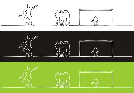 Soccer players and outline