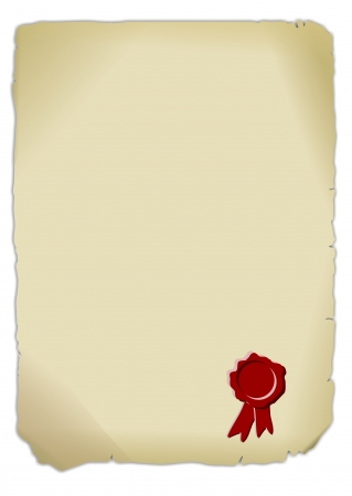 old piece of paper with red seal