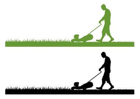 gras maaien: grasmaaier als silhouet in groen en zwart Stockfoto