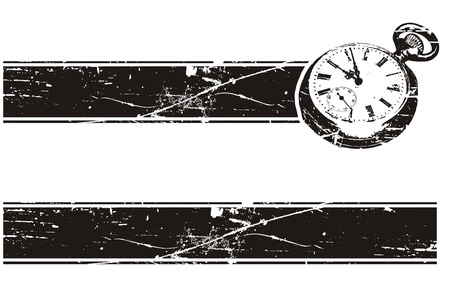 i net: banner with an old pocket watch, black and white