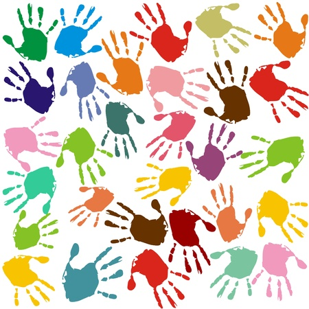 primary school: Hand prints in different colors  Stock Photo