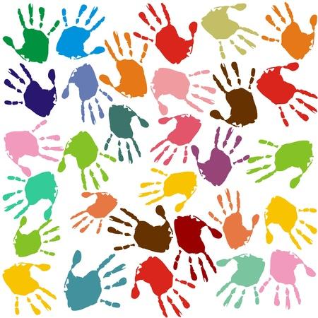 escuela primaria: Impresiones de la mano de diferentes colores