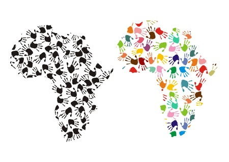 Map of africa with colorful hands  Stock Photo - 14289504