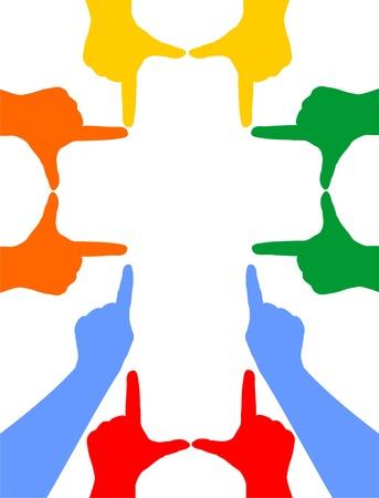 Hand silhouettes form a cross Standard-Bild
