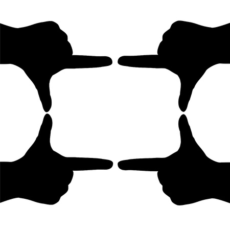 Hand silhouettes form a rectangle
