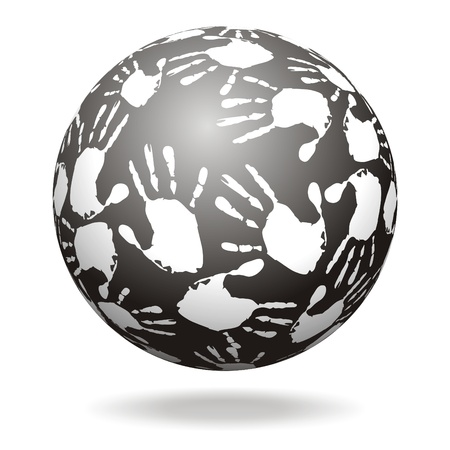 Sphere with hand prints Stock Photo - 14660255